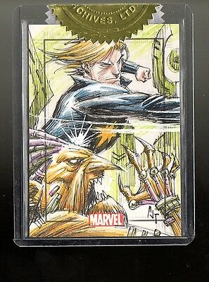Marvel Heroes & Villains Anthony Tan sketch card