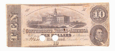 Civil War Confederate States Of America Ten Dollar Note Cut Cancelled