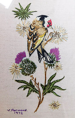 "Gold finch framed hand embroidery picture 14x10"" garden bird vintage 1970s 1973"