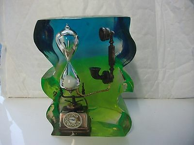 LUCITE PAPERWEIGHT RETRO TELEPHONE AND EGG TIMER..13cm in height