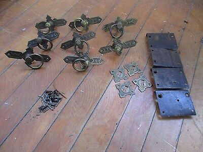 LOT OF 8 ANTIQUE EASTLAKE VICTORIAN ROUND EMBOSSED DRAWER PULLS BRASS Plus Misc