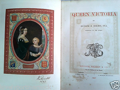 Antique rare QUEEN VICTORIA 1st edition book royalty illustrated 1897 by Holmes