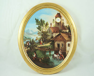 "Bradex 1996 Picture Clock - ""Dorf am Bodensee"" - Bradford Exchange, town life"