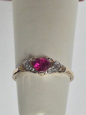 Heart Shape Created Ruby Natural Diamond Ring 14kt Yellow Gold