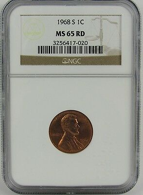 1968-S Lincoln Cent Ngc Ms65Rd