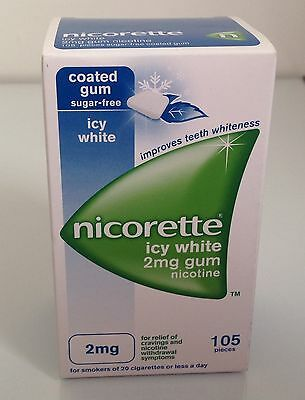 Nicorette - Coated Gum105 pieces - Icy White 2mg (Brand New Stocks)