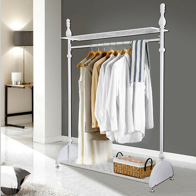 Double Clothes Rail Portable Hanging Garment Dress On Wheels With Shoe Rack UK