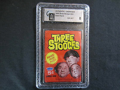 1966 unopened graded wax pack cards of the three stooges graded 8