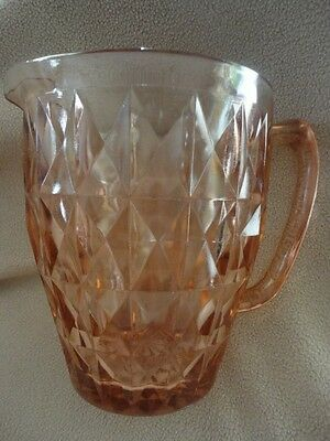 Pink Depression Glass Windsor Diamond Water Pitcher 6-1/2 in Tall Vintage