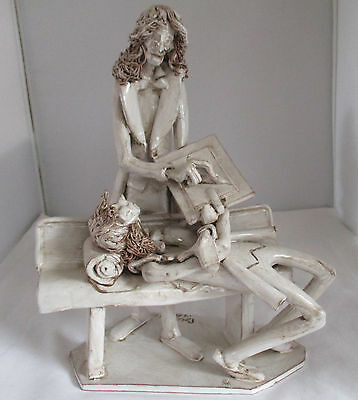 Vintage Signed Dino Bencini Pottery Sculpture Psychiatrist With Patient