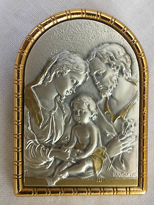 Argento Plaque by Cecchini 925 Silver Framed Jesus, Mary& Joseph Icon Italy