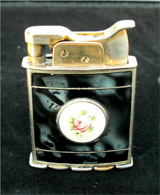 """EVANS """"TRIG-A-LITE"""" Lighter with a Glass Enameled Shield 6 Paneled..."""
