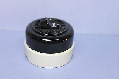 Vintage H&H Black Bakelite / White Porcelain Toggle Light Switch, TESTED - WORKS