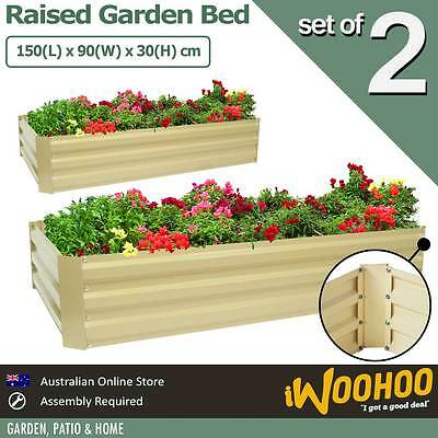 Raised Garden Bed 2 Pack 150 x 90 x 30cm Veggie Garden Flower Bed