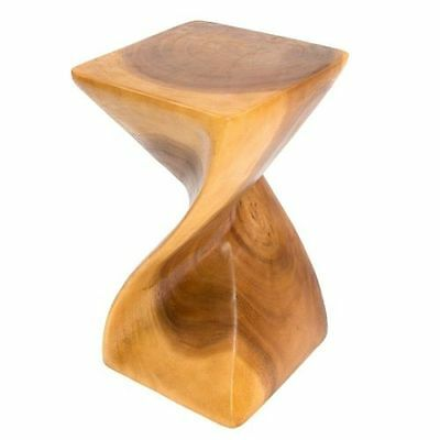Full Twist SideTable/Stool/Solid Acacia Wood/Hand Carved/Lamp Table/Plant Stand
