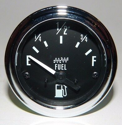 """NEW Universal 2-1/16"""" Electric Fuel Gas Level Gauge by Make Waves - Chrome Bezel"""