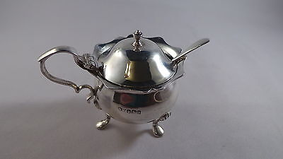 Nice Antique  Sterling Silver Mustard Pot And Spoon Sheffield 1900
