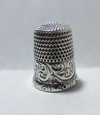 Antique Simons Old Sterling Silver Chased Band Thimble Size 9