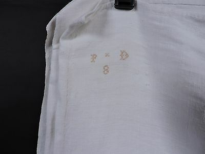 Antique 1820'S Hand Sewn Fine White Linen Sheet W Initialed Top