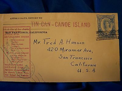 1934 TIN CAN - CANOE Island Mail--SS City of Los Angeles 2nd cruise-nice!