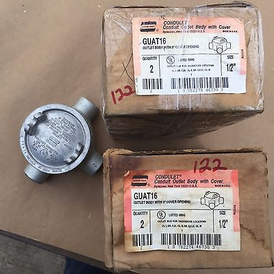 """New Crouse-Hinds Guat16 Explosion Conduit Oulet Box 1/2"""" Box Of 2 Each (#122)"""