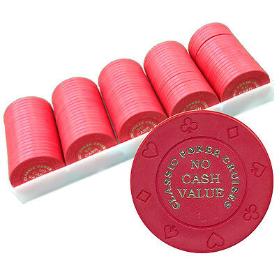 100 8-Suit Red Ncv Classic Poker Cruises Casino Quality Chips - Free Shipping