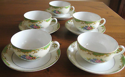 5 ANTIQUE JAPANESE GILDED CUPS AND SAUCERS NORITAKE c 1918-1921