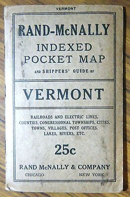 1916 Rand-McNally Indexed Pocket Map & Shippers Guide of VERMONT w/ Railroads +