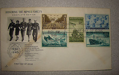 # 939 Merchant Marines 3c FDC COMBO: 929,934,935,936 - Honoring Amred Services