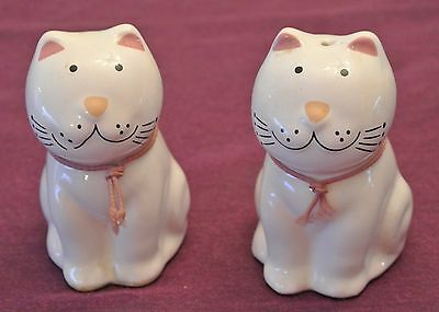 """White Smiling Cats Salt/Pepper Shakers - Porcelain - 3.75"""" Tall -Pink Ears & Tie"""