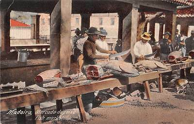 FUNCHAL, MADEIRA, PORTUGAL ~ VENDORS AT TOWN'S FISH MARKET ~ c. 1904-14