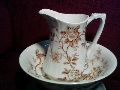 """Antique Alfred Meakin Staffordshire""""ROSA""""Wash Pitcher & Basin,England"""