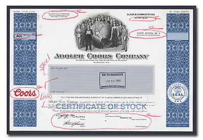 Adolph Coors Company RARE American Bank Note Production Portfolio