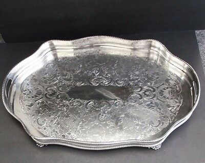 Large Vintage English Sheffield Silver Plate Footed Gallery Bar Tray Excellent
