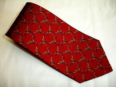LAUREN by Ralph Lauren Mallard Duck Theme Rep 100% Silk Tie Made in USA EXCELENT