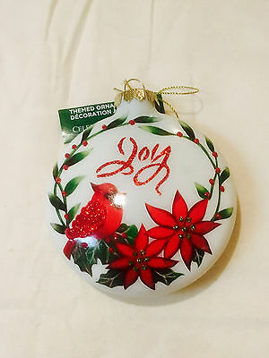 "Nwt! Stunning! ""joy"" ""red Robin""  ""christmas"" Glass Sparkly Tree Ornament!"