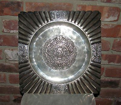 1950's maciel mexico sterling silver tray native american style design 2.26+ lbs