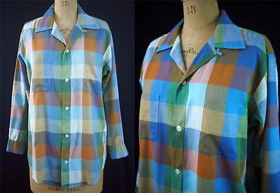 vtg 60s SEARS PREMIERE Loop Collar Mod Blue Plaid Shirt Rockabilly USA M 15.5