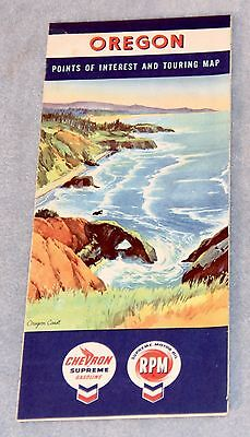 1950's CHEVRON Gasoline ROAD MAP of OREGON with Tourist Attractions