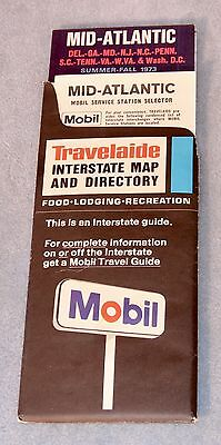 1973 MOBIL Gasoline ROAD MAP Mid-Atlantic United States