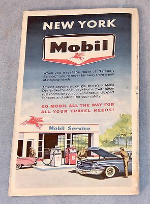 1950's MOBIL Gasoline ROAD MAP of NEW YORK w Tourist Attractions