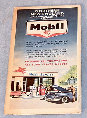 1950's MOBIL Gasoline ROAD MAP Northern NEW ENGLAND Maine New Hampshire Vermont