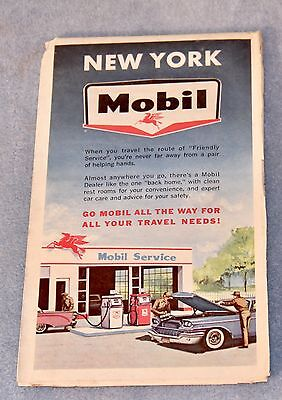 1950's MOBIL Gasoline ROAD MAP of NEW YORK w Tourist Attractions-2
