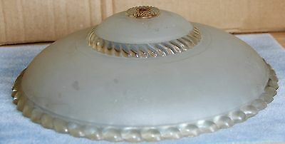 "CLEAR 12"" Round BEADED and Ribbon Glass Opalescent Light or Lamp Shade"