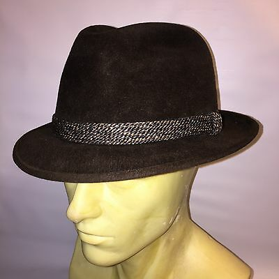 VTG Brown Mens Made In USA Mallory Felt Trilby Fedora Dress Hat RARE 7 1/4 Used