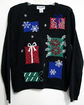 Alfred Dunner Petite PS Black Gifts Ugly Christmas Crew Neck Sweater