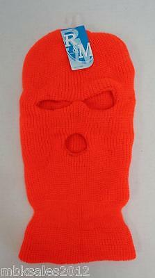 Wholesale 24pc Lot HUNTER ORANGE Winter Knit 3 Hole Ski Mask