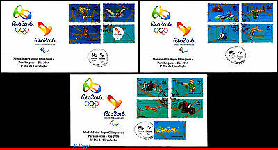 15-21Fl Brazil 2015 Olympic & Paralympic Games, Rio 2016, Fdc Left - 3Rd Sheet