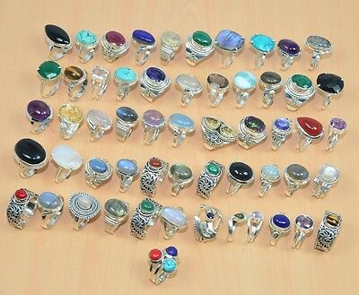 Wholesale 56Pc 925 Solid Sterling Silver Natural Ruby Mix Stone Ring Jewelry Lot