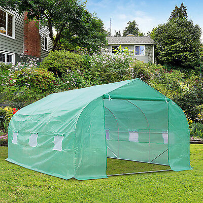 Deluxe 15'x10'x7' Walk-in Tunnel Greenhouse Plant Grow Tent Garden Shed Portable
